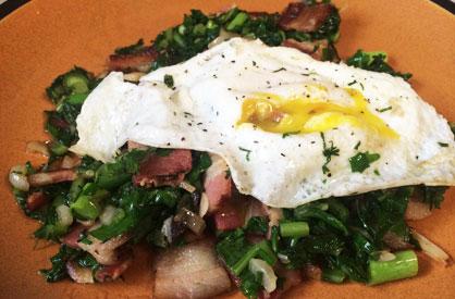 Garlic-Radish-Leaf-Bacon-Eg